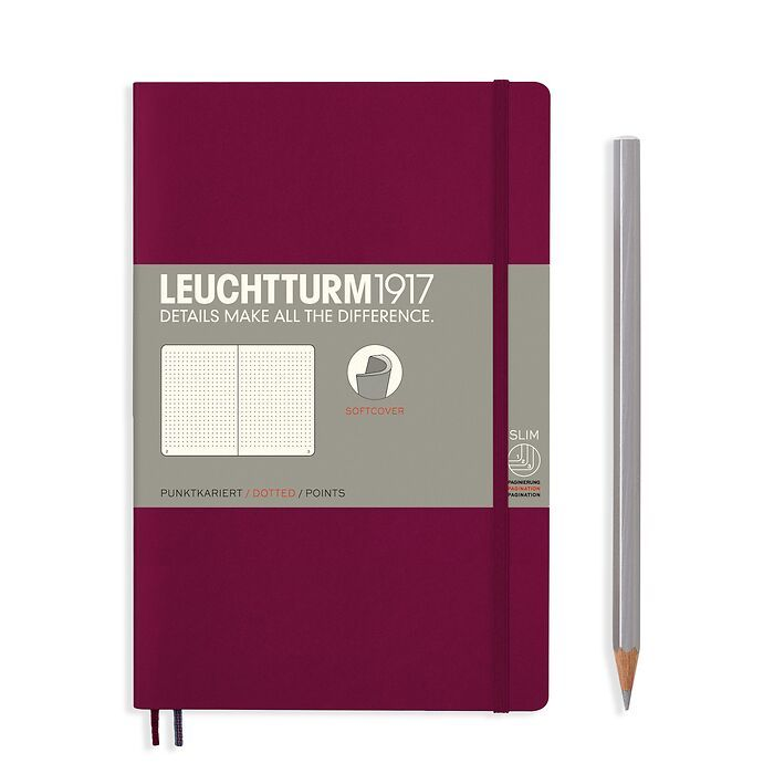 Notizbuch Paperback (B6+), Softcover, 123 nummerierte Seiten, Port Red, Dotted