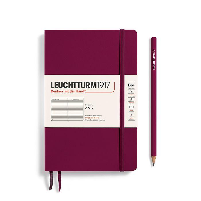 Notizbuch Paperback (B6+), Softcover, 123 nummerierte Seiten, Port Red, Liniert