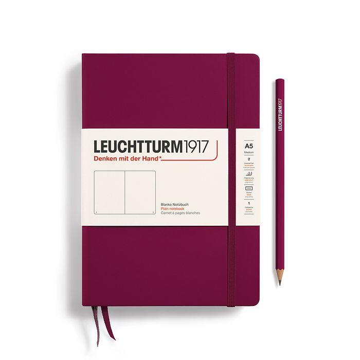 Notizbuch Medium (A5), Hardcover, 251 nummerierte Seiten, Port Red, Blanko