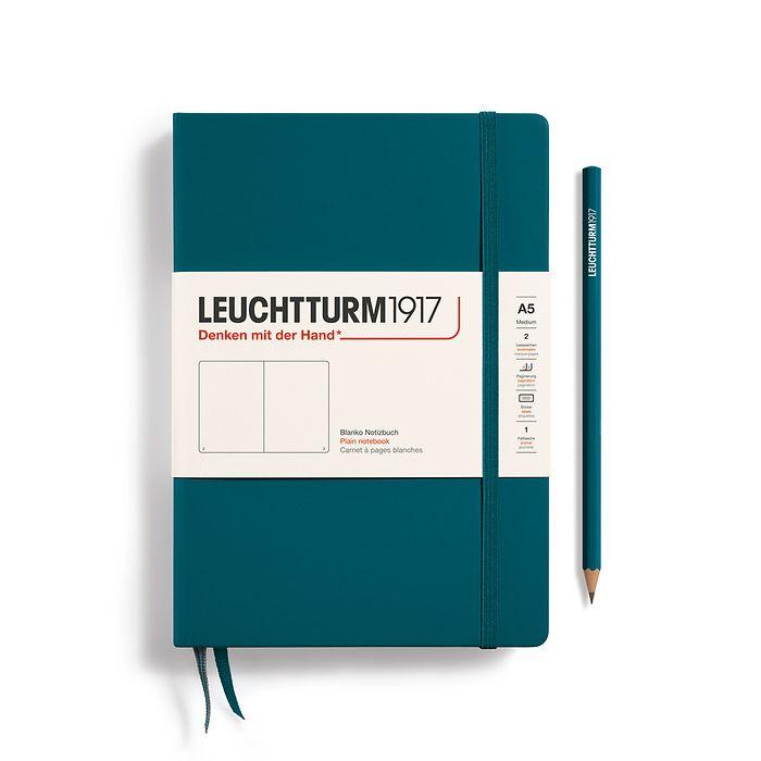 Notizbuch Medium (A5), Hardcover, 251 nummerierte Seiten, Pacific Green, Blanko