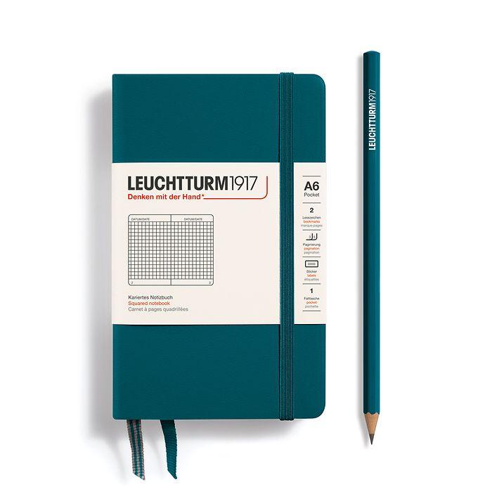 Notizbuch Pocket (A6), Hardcover, 187 nummerierte Seiten, Pacific Green, Kariert