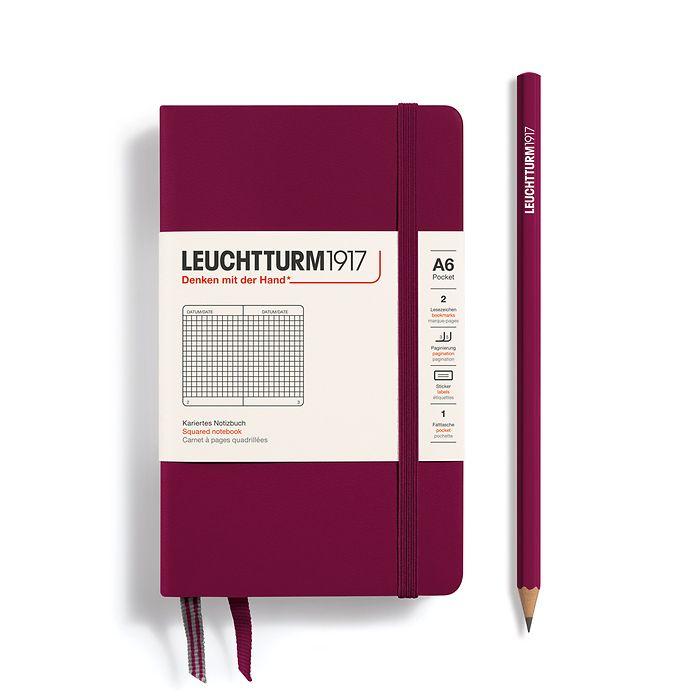 Notizbuch Pocket (A6), Hardcover, 187 nummerierte Seiten, Port Red, Kariert