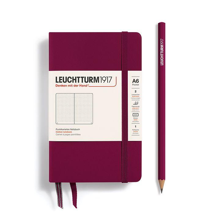 Notizbuch Pocket (A6), Hardcover, 187 nummerierte Seiten, Port Red, Dotted