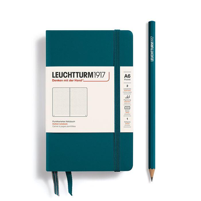 Notizbuch Pocket (A6), Hardcover, 187 nummerierte Seiten, Pacific Green, Dotted