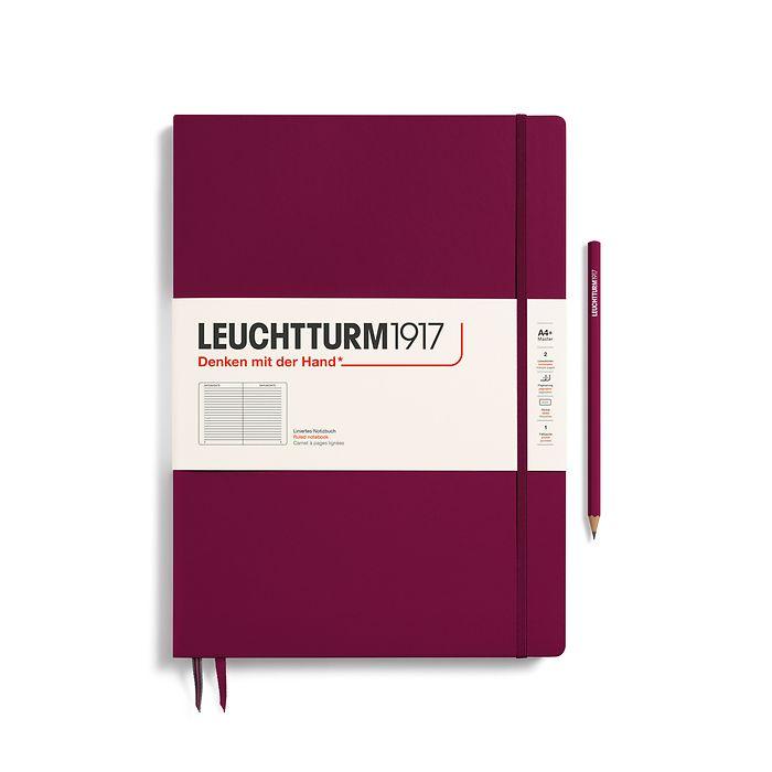 Notizbuch Master Slim (A4+), Hardcover, 123 nummerierte Seiten, Port Red, Liniert