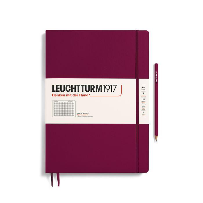 Notizbuch Master Slim (A4+), Hardcover, 123 nummerierte Seiten, Port Red, Kariert