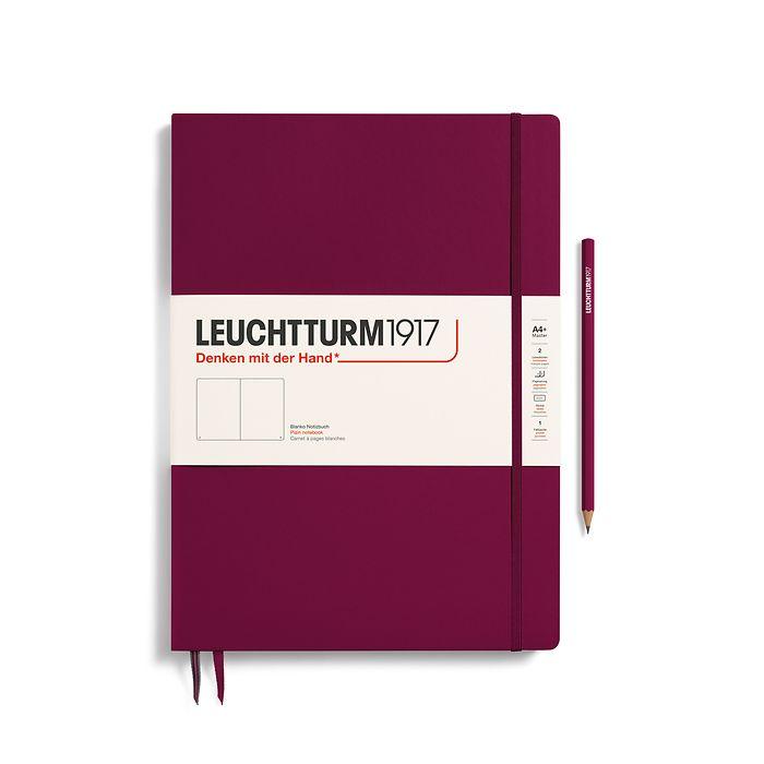 Notizbuch Master Slim (A4+), Hardcover, 123 nummerierte Seiten, Port Red, Blanko
