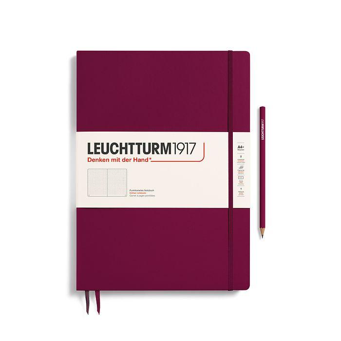 Notizbuch Master Slim (A4+), Hardcover, 123 nummerierte Seiten, Port Red, Dotted