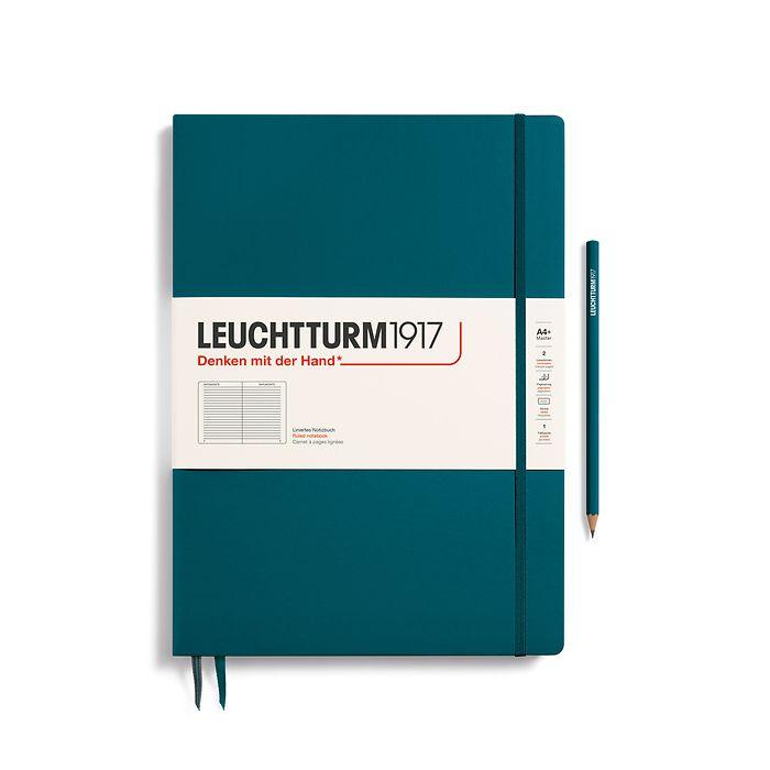 Notizbuch Master Slim (A4+), Hardcover, 123 nummerierte Seiten, Pacific Green, Liniert