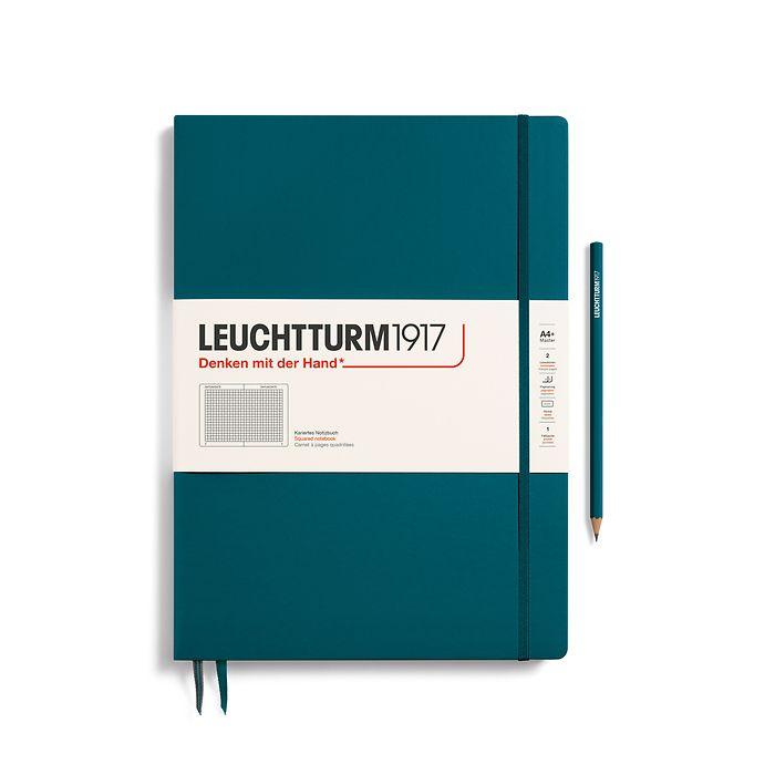 Notizbuch Master Slim (A4+), Hardcover, 123 nummerierte Seiten, Pacific Green, Kariert