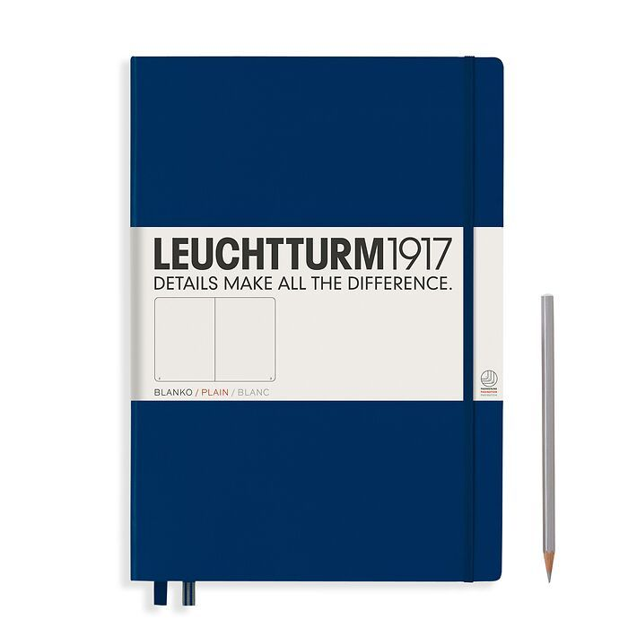 Notizbuch Master Classic (A4+), Hardcover, 233 nummerierte Seiten, Marine, Blanko