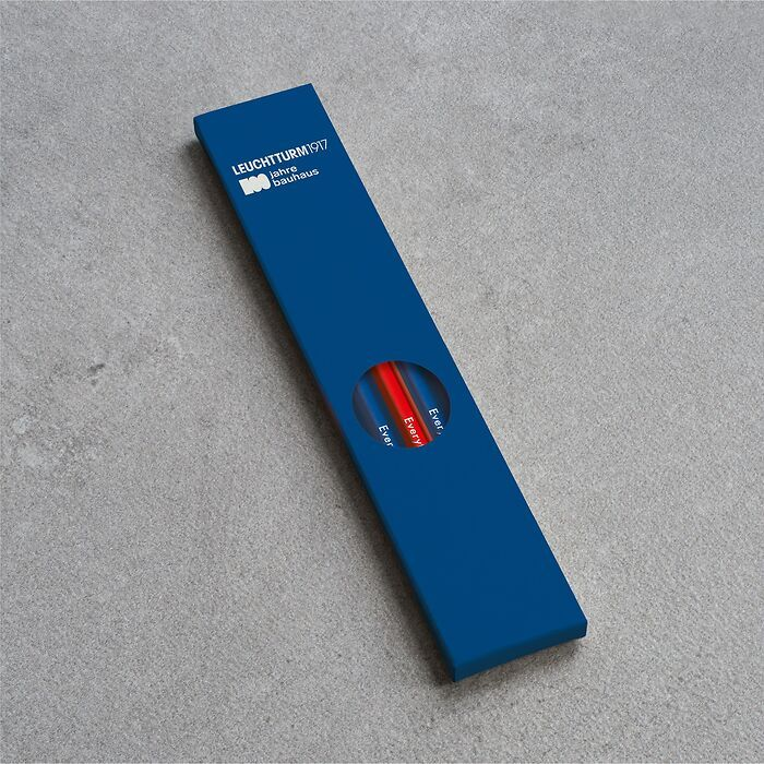Bleistift HB, LEUCHTTURM1917,  sortiert, 100 Jahre Bauhaus:  4x Königsblau, 1x Rot