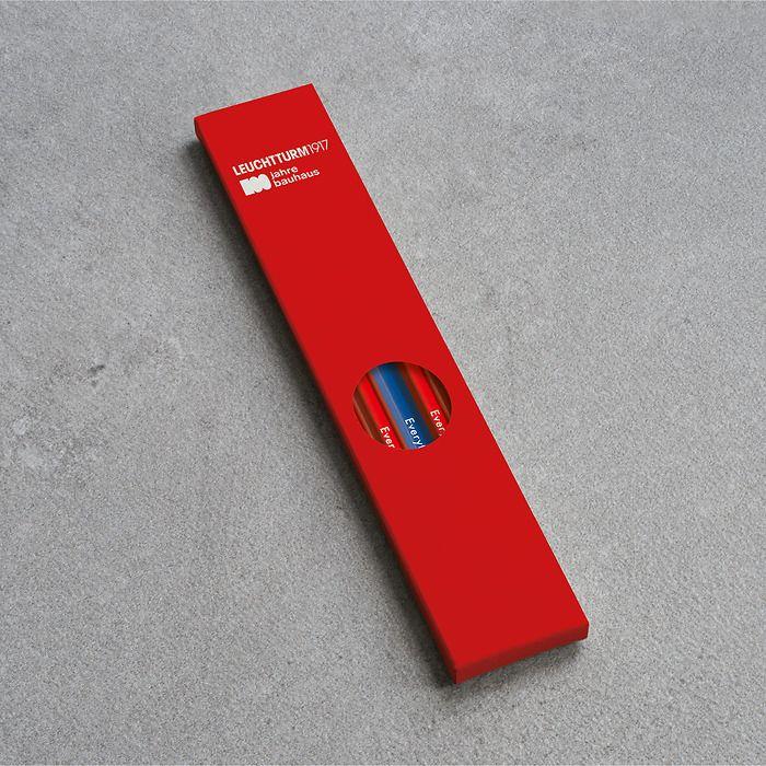 Bleistift HB, LEUCHTTURM1917,  sortiert, 100 Jahre Bauhaus:  4x Rot, 1x Königsblau