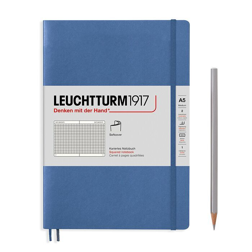 Notizbuch Medium (A5), Softcover, 123 nummerierte Seiten, Denim, Kariert