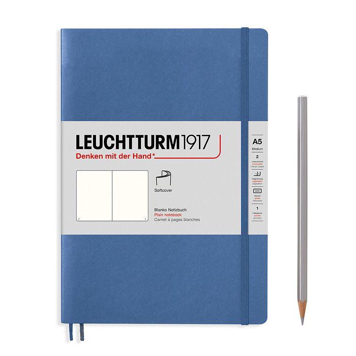 Notizbuch Medium (A5), Softcover, 123 nummerierte Seiten, Denim, Blanko