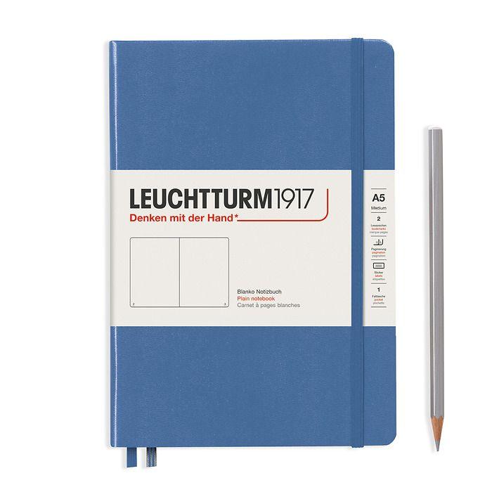 Notizbuch Medium (A5), Hardcover, 251 nummerierte Seiten, Denim, Blanko