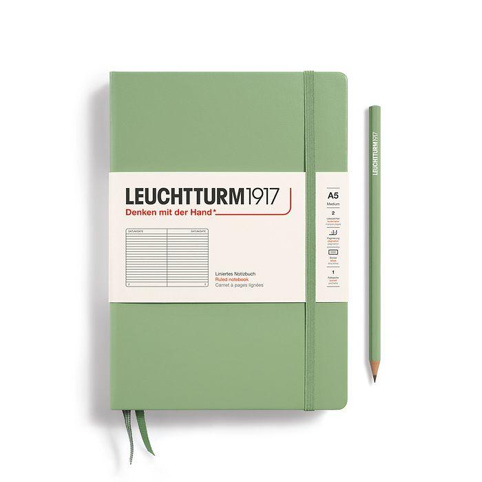 Notizbuch Medium (A5), Hardcover, 251 nummerierte Seiten, Salbei, Liniert