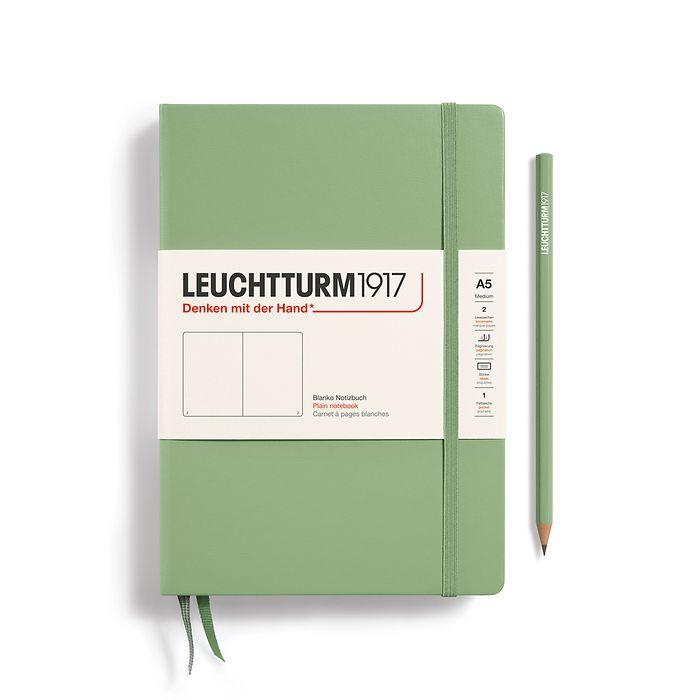 Notizbuch Medium (A5), Hardcover, 251 nummerierte Seiten, Salbei, Blanko