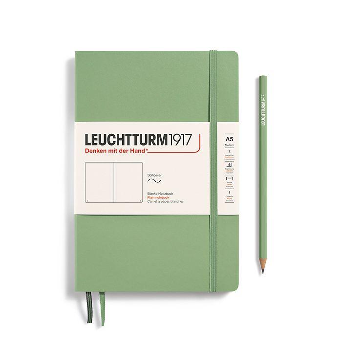 Notizbuch Medium (A5), Softcover, 123 nummerierte Seiten, Salbei, Blanko