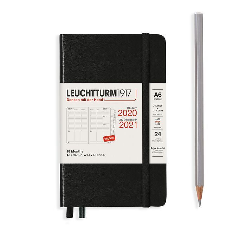 Akademischer Wochenplaner Pocket (A6) 2021, mit Extraheft, 18 Monate, Schwarz, Englisch