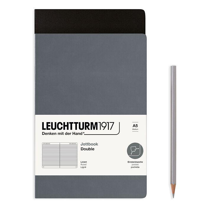 Jottbook (A5), 59 nummerierte Seiten, Liniert, Schwarz und Anthrazit, im Doppelpack
