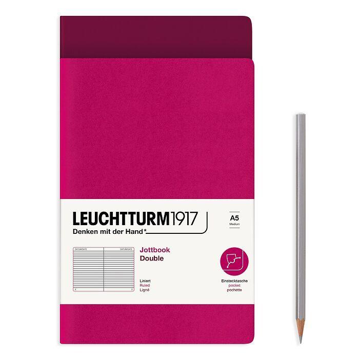 Jottbook (A5), 59 nummerierte Seiten, Liniert, Port Red und Beere, im Doppelpack