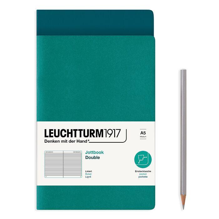 Jottbook (A5), 59 nummerierte Seiten, Liniert, Pacific Green und Smaragd, im Doppelpack