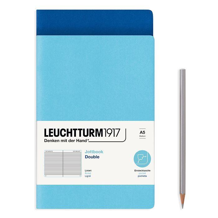 Jottbook (A5), 59 nummerierte Seiten, Liniert, Königsblau und Ice Blue, im Doppelpack