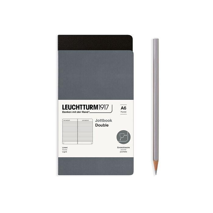 Jottbook (A6), 59 nummerierte Seiten, Liniert, Schwarz und Anthrazit, im Doppelpack