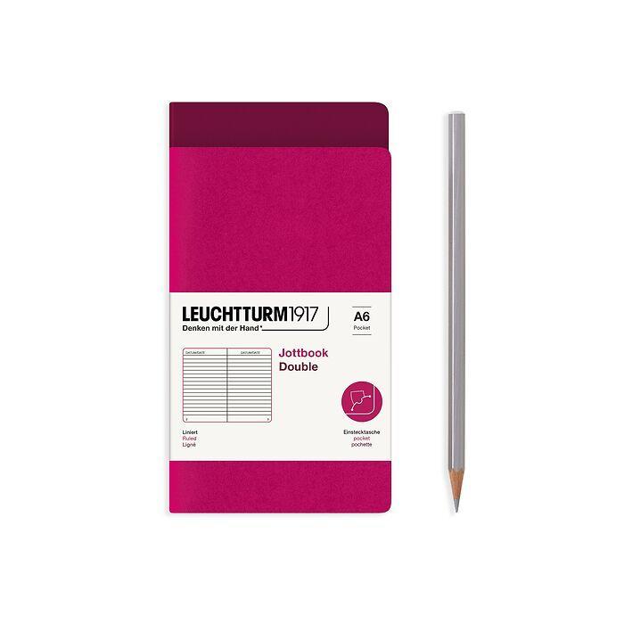 Jottbook (A6), 59 nummerierte Seiten, Liniert, Port Red und Beere, im Doppelpack