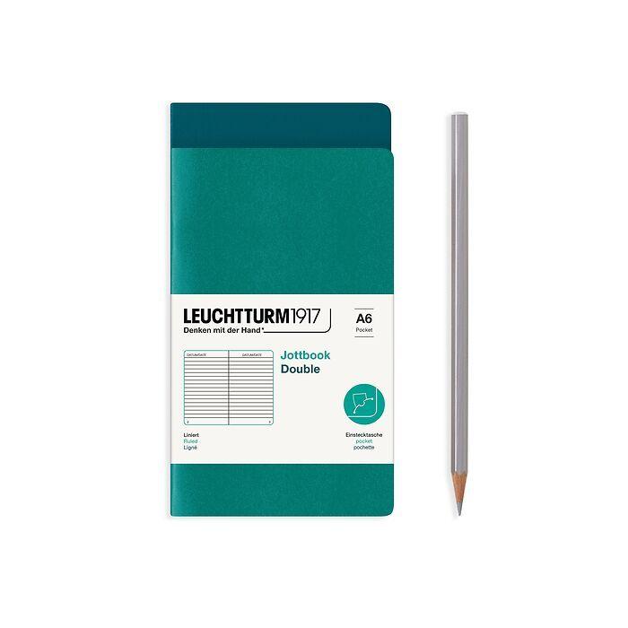 Jottbook (A6), 59 nummerierte Seiten, Liniert, Pacific Green und Smaragd, im Doppelpack
