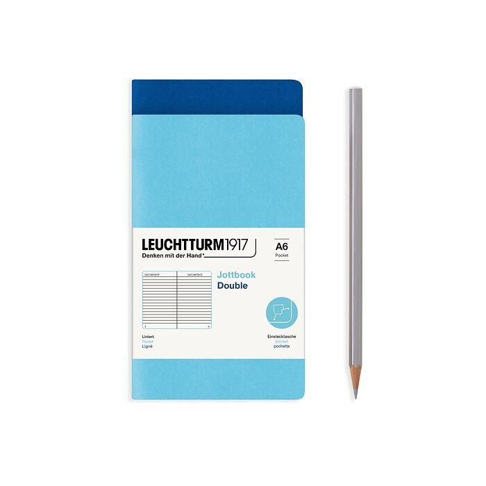 Jottbook (A6), 59 nummerierte Seiten, Liniert, Königsblau und Ice Blue, im Doppelpack