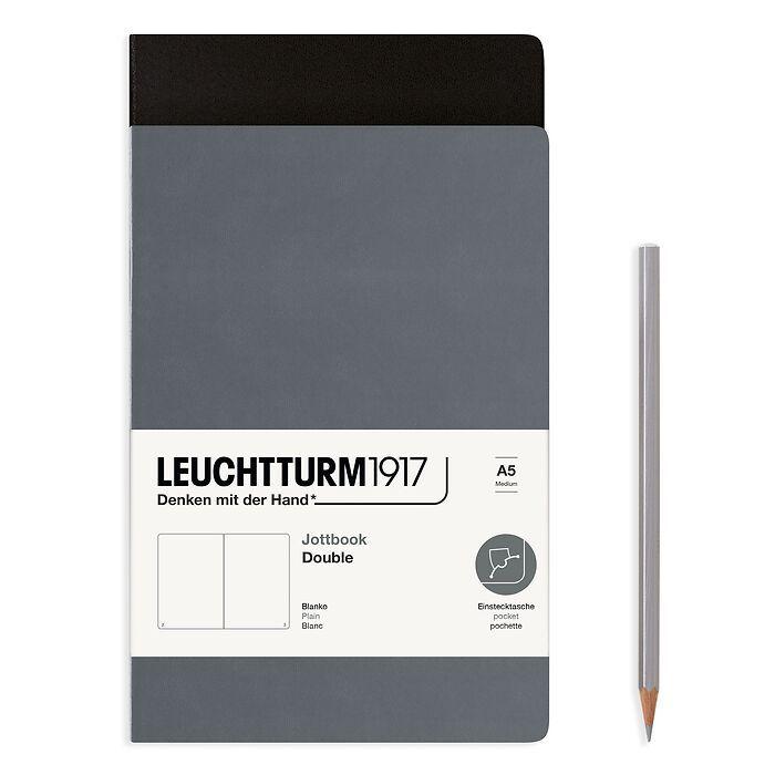 Jottbook (A5), 59 nummerierte Seiten, Blanko, Schwarz und Anthrazit, im Doppelpack