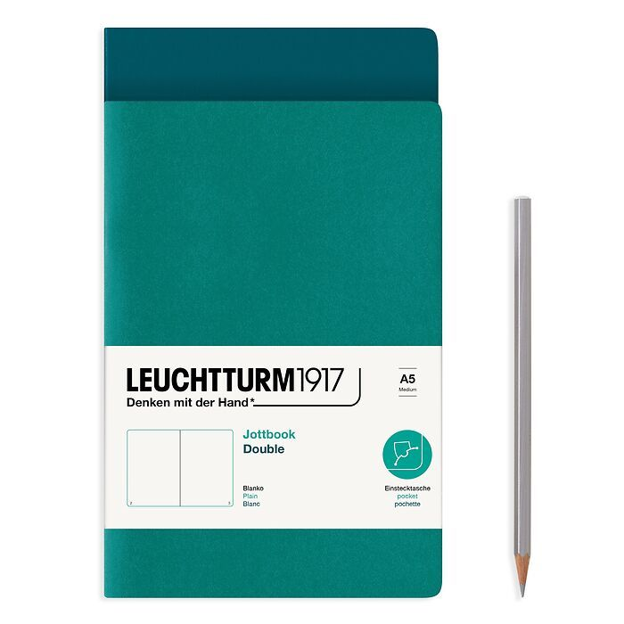 Jottbook (A5), 59 nummerierte Seiten, Blanko, Pacific Green und Smaragd, im Doppelpack