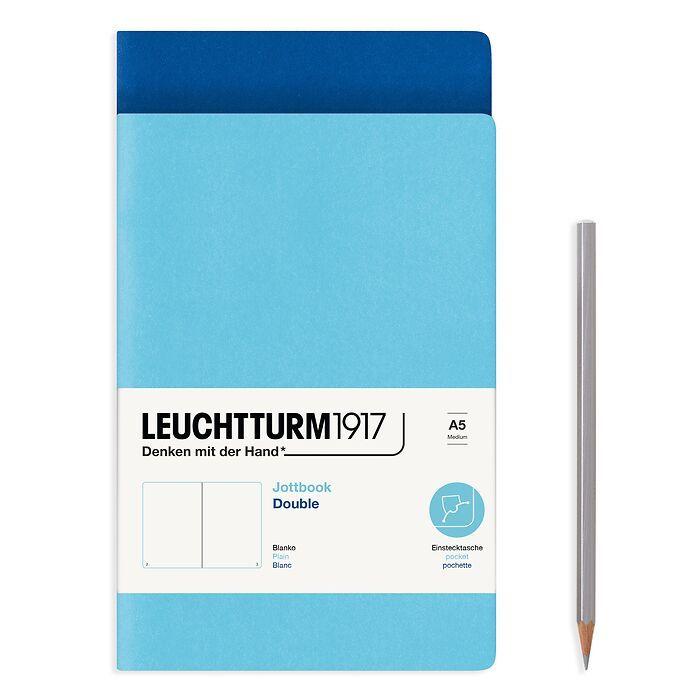 Jottbook (A5), 59 nummerierte Seiten, Blanko, Königsblau und Ice Blue, im Doppelpack