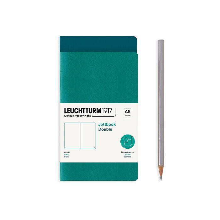 Jottbook (A6), 59 nummerierte Seiten, Blanko, Pacific Green und Smaragd, im Doppelpack