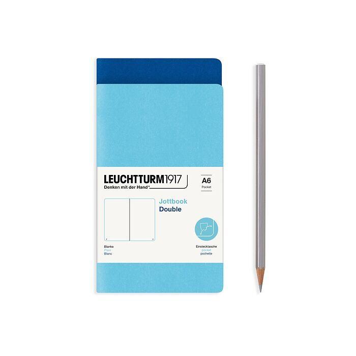 Jottbook (A6), 59 nummerierte Seiten, Blanko, Königsblau und Ice Blue, im Doppelpack