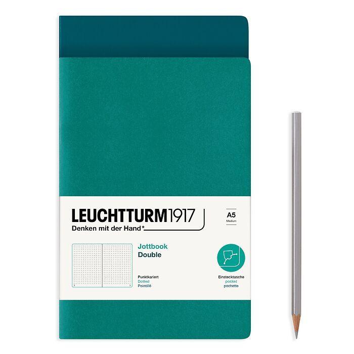 Jottbook (A5), 59 nummerierte Seiten, Dotted, Pacific Green und Smaragd, im Doppelpack