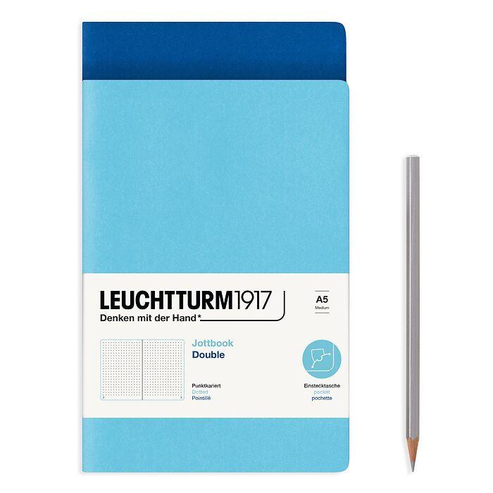 Jottbook (A5), 59 nummerierte Seiten, Dotted, Königsblau und Ice Blue, im Doppelpack