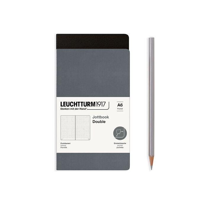Jottbook (A6), 59 nummerierte Seiten, Dotted, Schwarz und Anthrazit, im Doppelpack