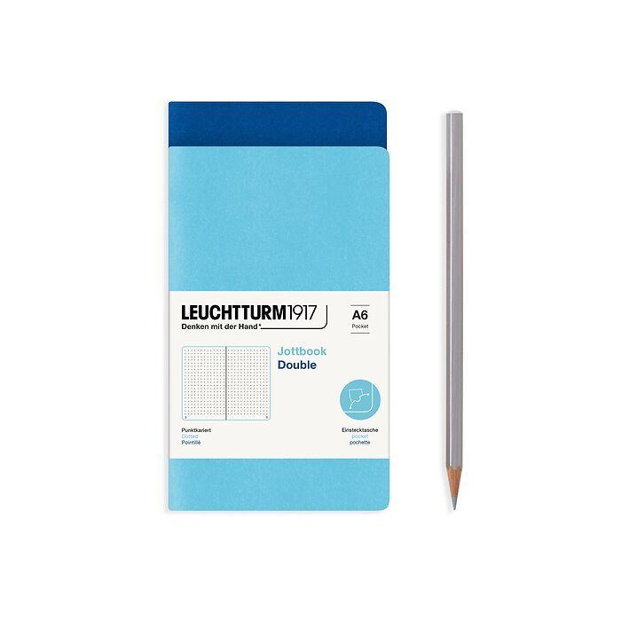 Jottbook (A6), 59 nummerierte Seiten, Dotted, Königsblau und Ice Blue, im Doppelpack