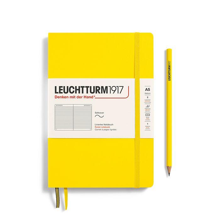 Notizbuch Medium (A5), Softcover, 123 nummerierte Seiten, Zitrone, Liniert