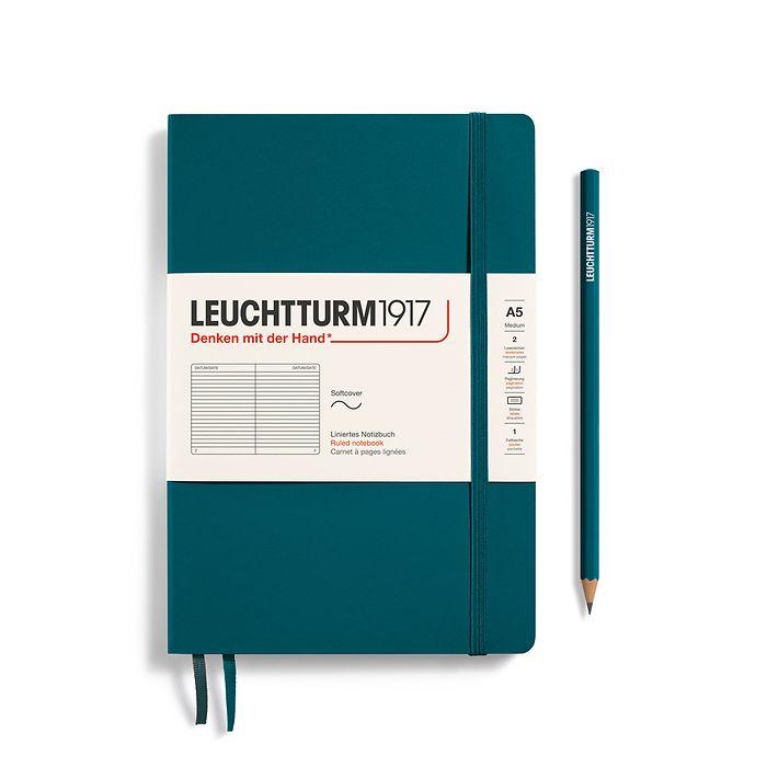 Notizbuch Medium (A5), Softcover, 123 nummerierte Seiten, Pacific Green, Liniert