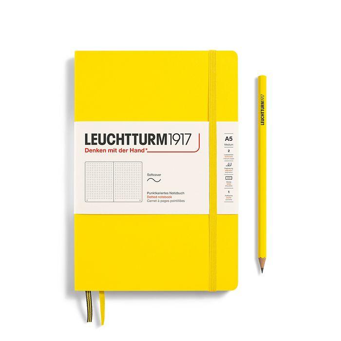 Notizbuch Medium (A5), Softcover, 123 nummerierte Seiten, Zitrone, Dotted