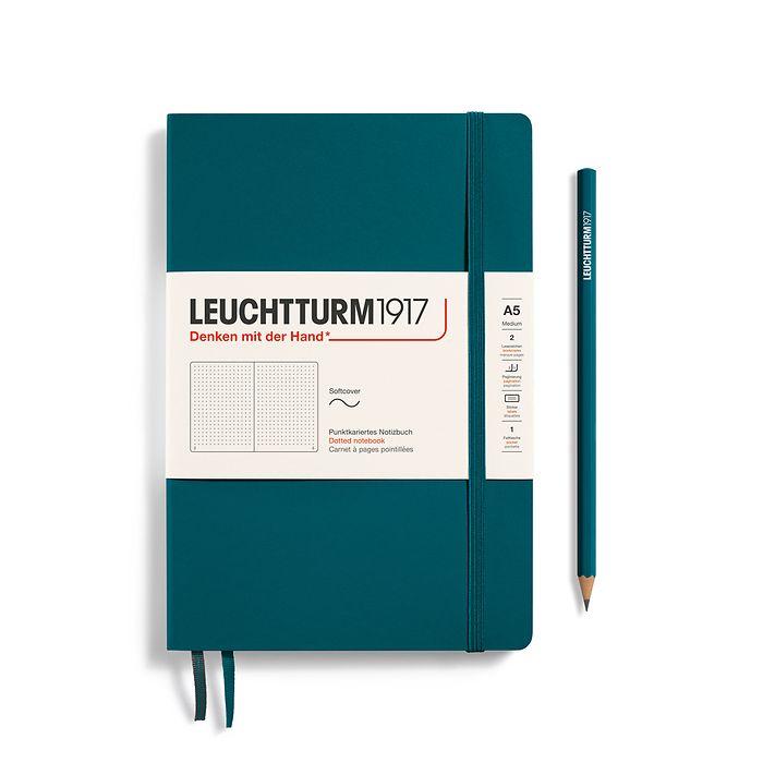 Notizbuch Medium (A5), Softcover, 123 nummerierte Seiten, Pacific Green, Dotted