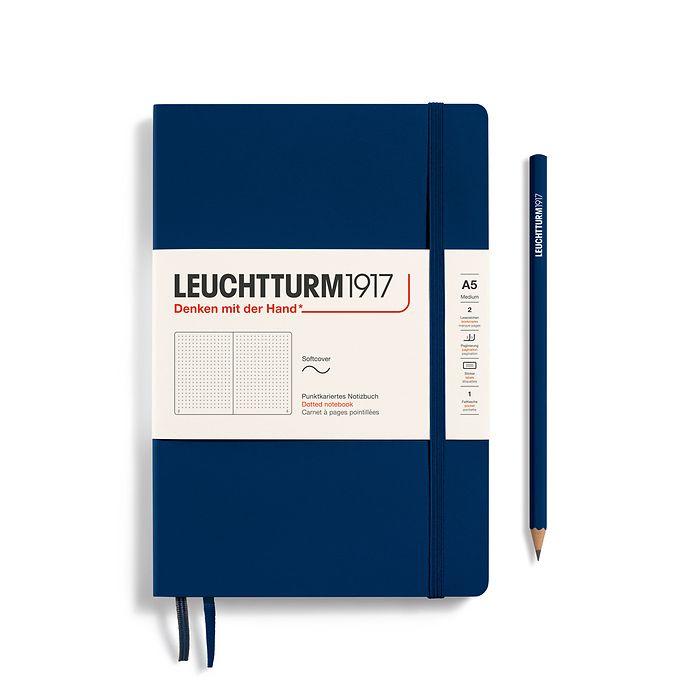 Notizbuch Medium (A5), Softcover, 123 nummerierte Seiten, Marine, Dotted