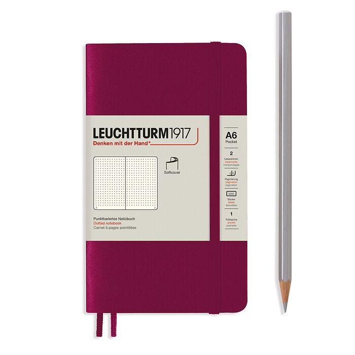 Notizbuch Pocket (A6), Softcover, 123 nummerierte Seiten, Port Red, Dotted