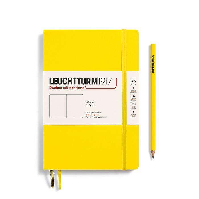 Notizbuch Medium (A5), Softcover, 123 nummerierte Seiten, Zitrone, Blanko