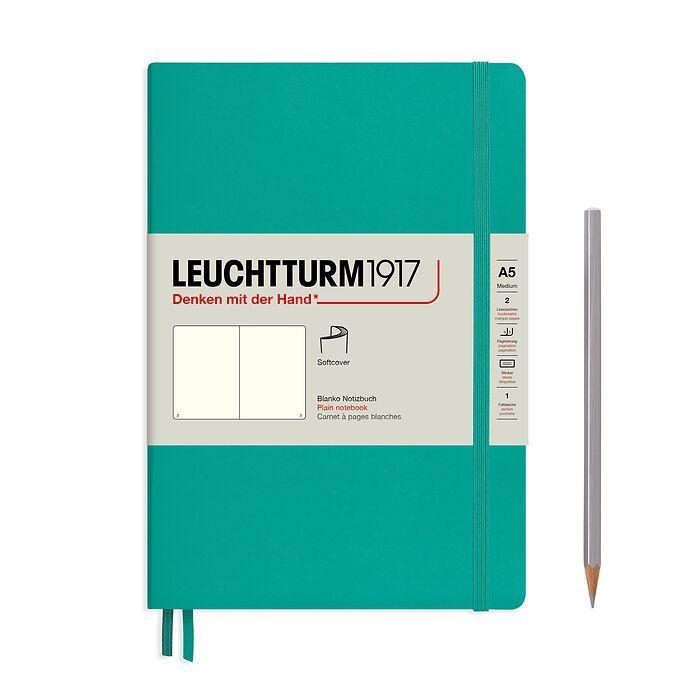 Notizbuch Medium (A5), Softcover, 123 nummerierte Seiten, Smaragd, Blanko