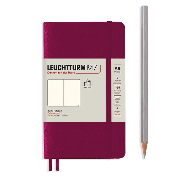 Notizbuch Pocket (A6), Softcover, 123 nummerierte Seiten, Port Red, Blanko